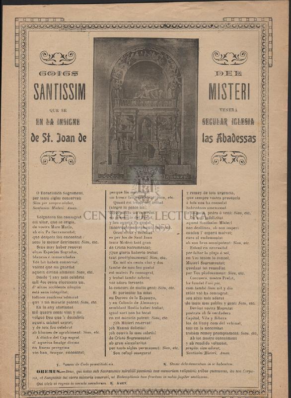 Goigs del Santissim Misteri que se venera en la insigne secular Iglesia de St. Joan de las Abadessas