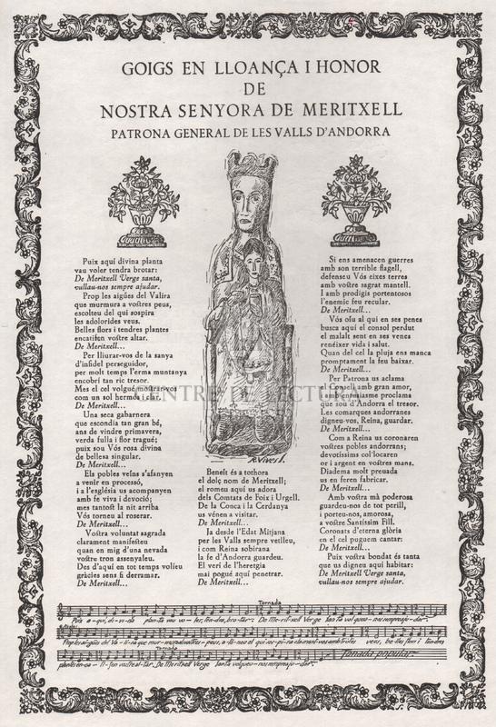 Goigs en lloança i honor de Nostra Senyora de Meritxell, Patrona general de les Valls d'Andorra.