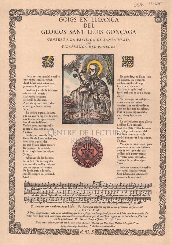 Goigs en lloança del gloriós sant Lluís Gonçaga, venerat a la Basílica de Santa Maria de Vilafranca del Penedès