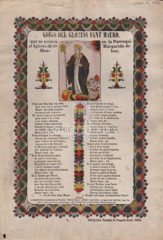 Goigs del gloriod Sant Mauro, que se venera en la Parroquial Iglesia de Sta. Margarida de Monbuy