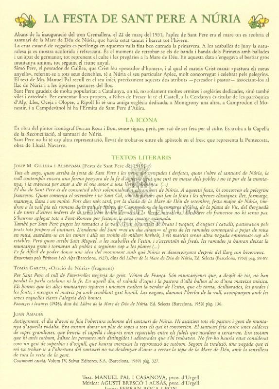 Goigs a llaor de Sant Pere, venerat a Núria (Bisbat d'Urgell)
