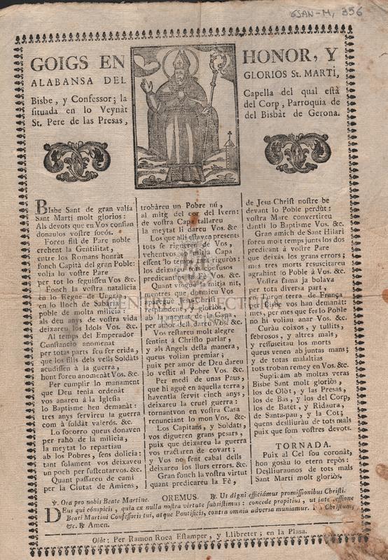 Goigs en honor, y alabansa del glorios St. Martí, Bisbe, y Confessor; la Capella del qual està situada en lo Veynàt del Corp, Parroquia de St. Pere de las Presas, del Bisbat de Gerona