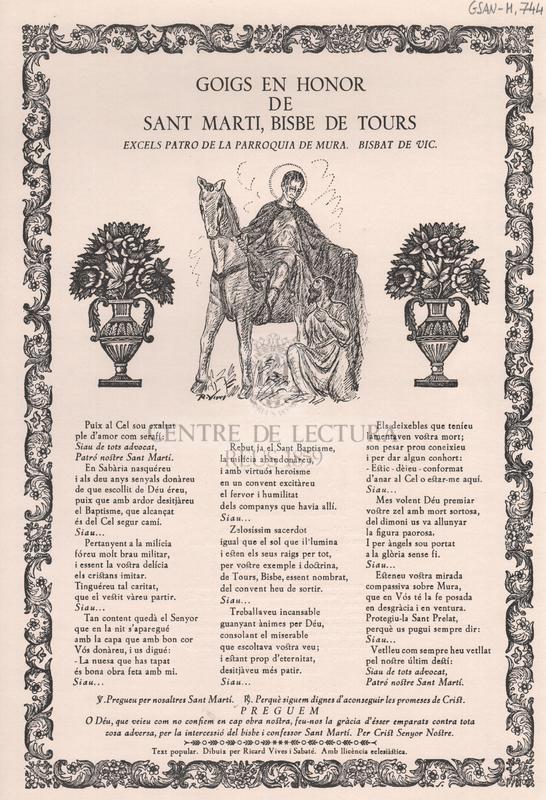 Goigs en honor de Sant Marti, Bisbe de Tours. Excels patro de la parroquia de Mura. Bisbat de Vic