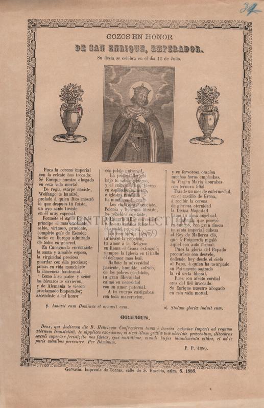 Gozos en honor de San Enrique, emperador. Su fiesta se celebra en el dia 15 de julio