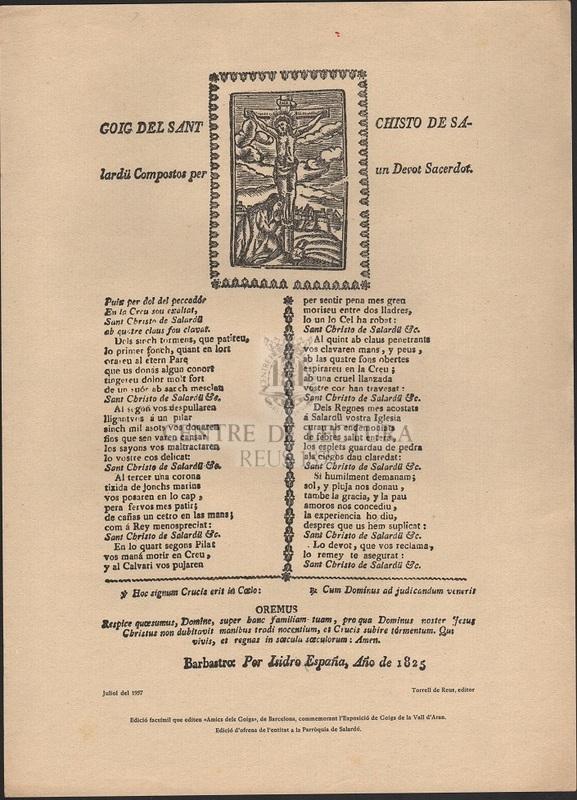 Goigs del Sant Chisto de Salardü Compostos per un Devot Sacerdot