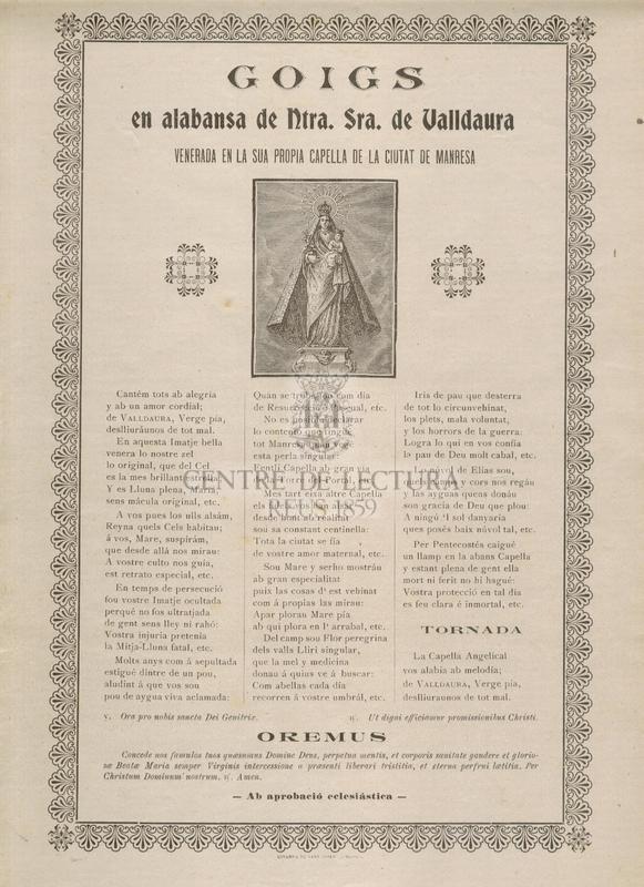 Goigs en alabansa de Ntra. Sra. de Valldaura venerada en la sua propia Capella de la ciutat de Manresa