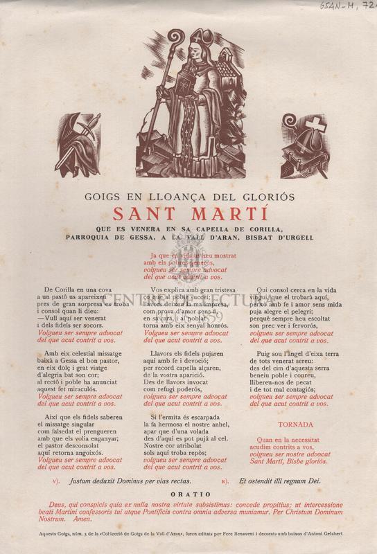 Goigs en lloança del gloriós Sant Martí que es venera en sa capella de Corilla, parroquia de Gessa, a la Vall d'Aran, Bisbat d'Urgell