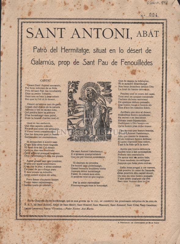 Sant Antoni, abát Patró del Hermitatge, situat en lo désert de Galamùs, prop de Sant Pau de Fenouillèdes.