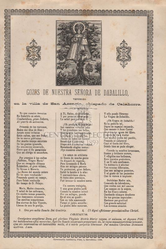 Gozos de Nuestra Señora de Dabalillo, en la villa de San Asencio, obispado de Calahorra