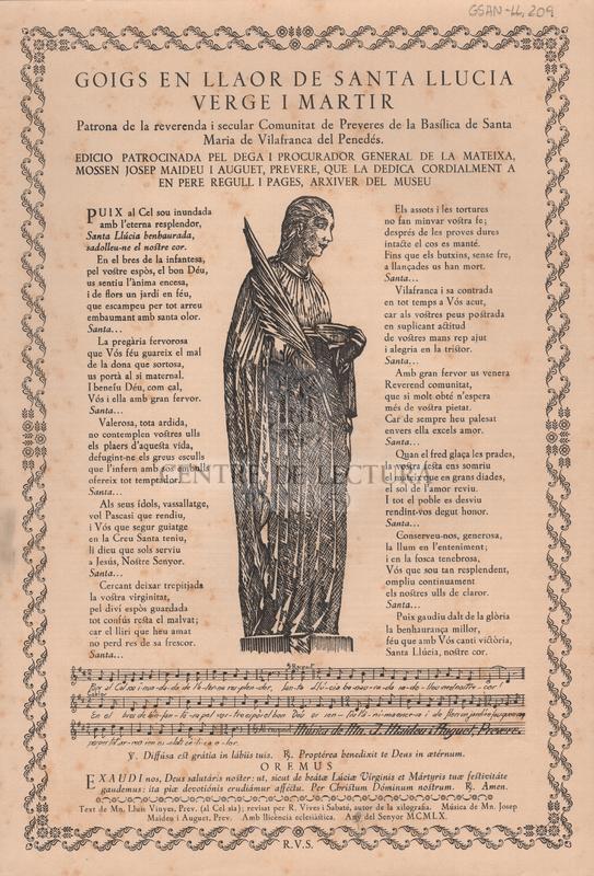 Goigs en llaor de Santa Llucia Verge i Martir Patrona de la reverenda i secular Comunitat de Preveres de la Basílica de Santa Maria de Vilafranca del Penedés.