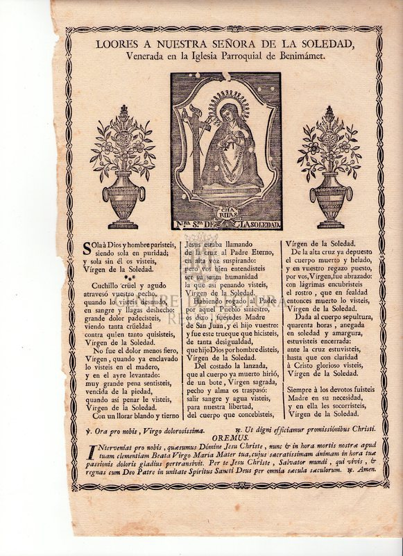 Loores a Nuestra Señora de la Soledad, venera en la Iglesia Parroquial de Benimámet