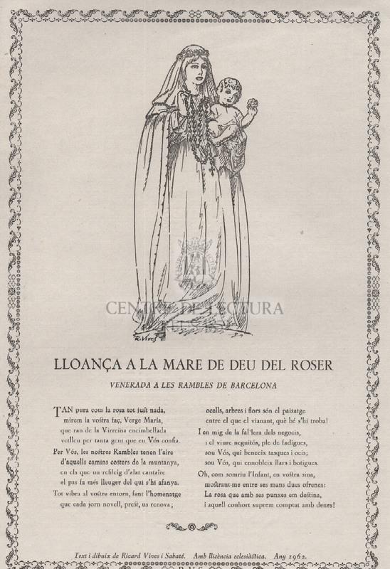 Lloança a la Mare de Déu del Roser venerada a les Rambles de Barcelona