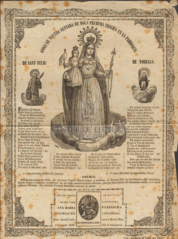 Goigs de Nostra Senyora de Roca-Prebera erigida en la Parroquia de Torelló