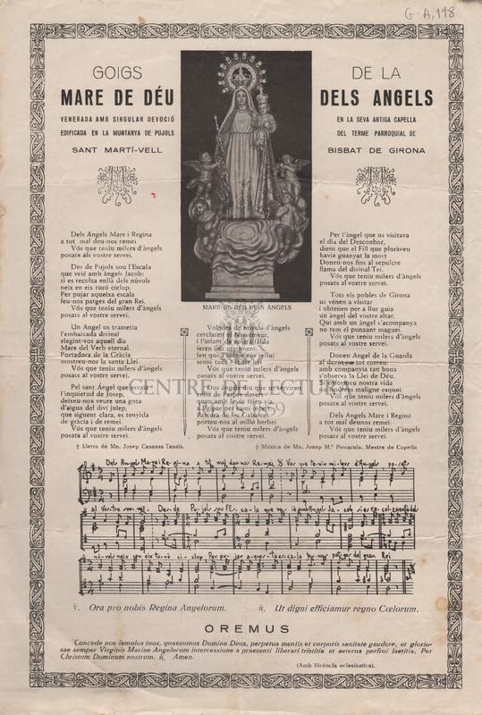 Goigs de la Mare de Déu dels Angels venerada amb singular devoció en la seva antiga capella edificada en la muntanya de Pujols del terme parroquial de Sant Martí-Vell Bisbat de Girona
