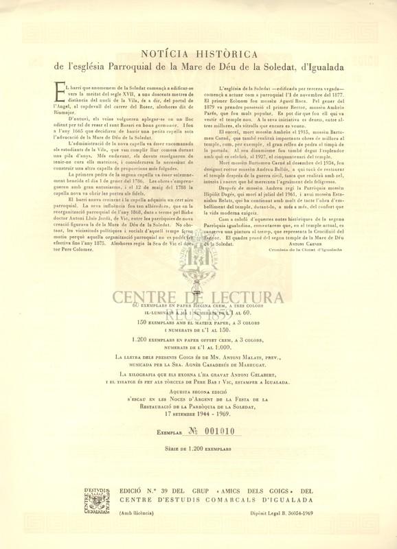 Goigs a llaor de la Mare de Déu de la Soledat d'Igualada que es venera a la parròquia titular