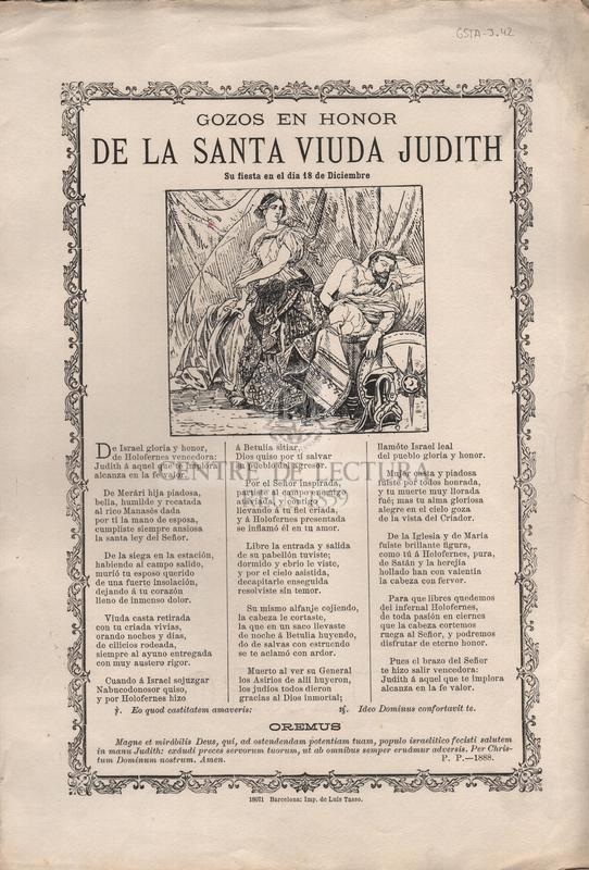 Gozos en honor de la Santa Viuda Judith. Su fiesta en el dia 18 de Diciembre