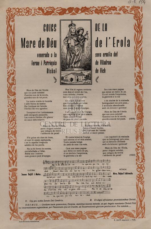 Goigs de la Mare de Déu de l'Erola venerada a la seva ermita del terme i Parròquia de Viladrau Bisbat de Vich.