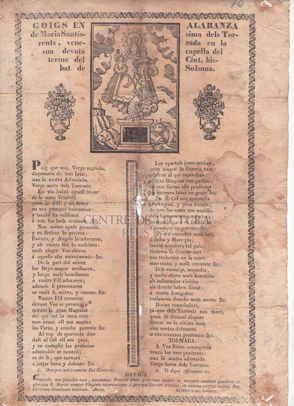 Goigs en alabanza de Maria Santíssima dels Torrents, venerada en la sua devota Capella del terme del Cint, Bisbat de Solsona