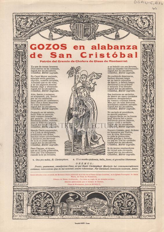 Gozos en alabanza de San Cristóbal patrón del Gremio de Chofers de Olesa de Montserrat