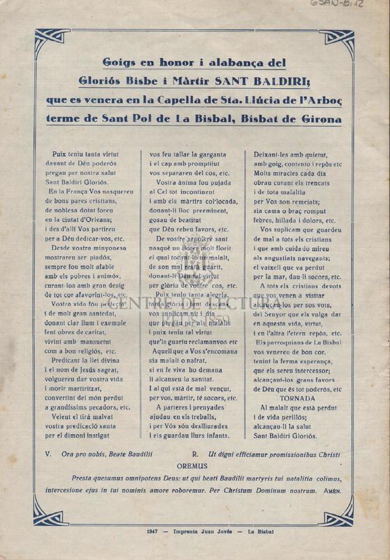 Goigs en honor i alabança del Gloriós Bisbe i Màrtir Sant Baldiri; que es venera en la Capella de Sta. Llúcia de l'Arboç terme de Sant Pol de la Bisbal de Girona