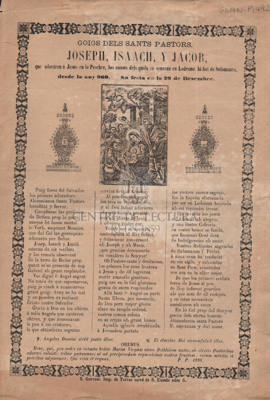 Goigs dels Sants Pastors, Joseph, Isaac, y Jacob, que adoráren á Jesus en lo Pesebre, los cossos del quals se veneran en Ledesma, bisbat de Salamanca, desde lo any 960. Sa festa en lo 29 de Desembre
