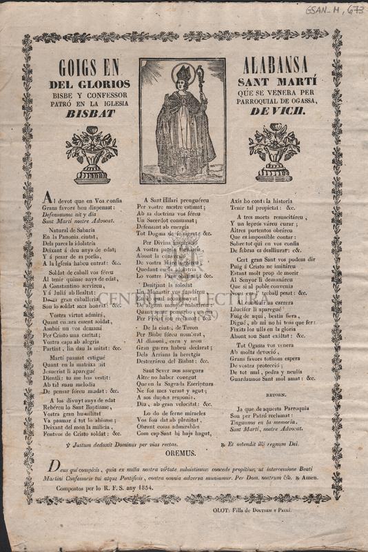 Goigs en alabansa del glorios Sant Martí. Bisbe y confessor que se venera per patró en la iglesia parroquial de Ogassa, Bisbat de Vich