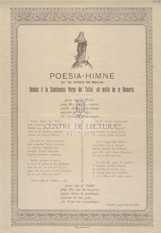 Poesia-himne qu' el poble de Maldà dedica á la Santíssima Verge del Tallat, ab motiu de la Romeria