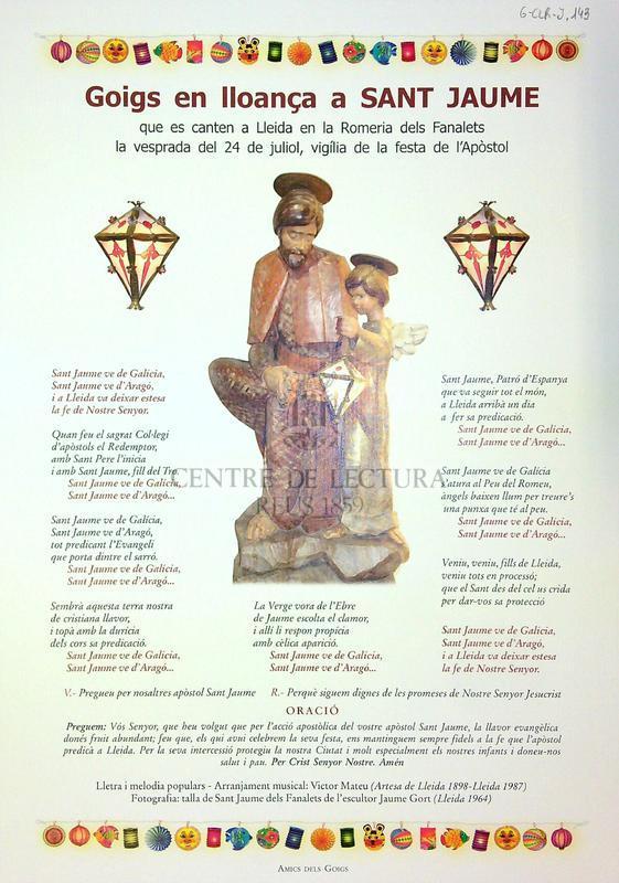Goigs en lloança a Sant Jaume que es canten a Lleida en la Romeria dels Fanalets la vesprada del 24 de juliol, vigília de la festa de l'Apòstol