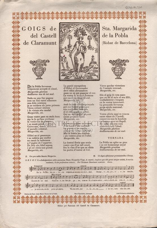 Goigs de Sta. Margarida del Castell de la Pobla de Claramunt (Bisbat de Barcelona)