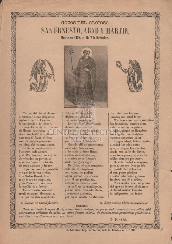 Gozos del gloioso San Ernesto, abad y martir, muerto en 1158, el dia 7 de noviembre