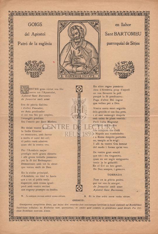 Goigs en llahor del Apòstol Sant Bartomeu, patró de la església parroquial de Sitges