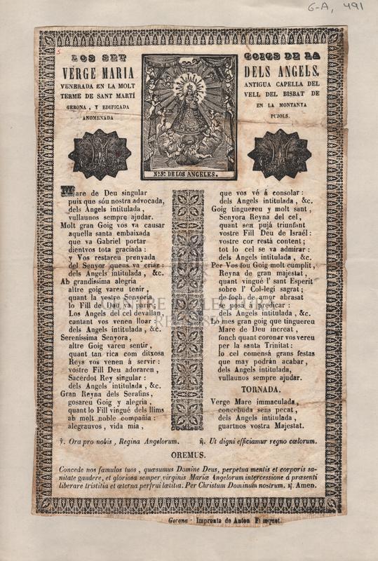 Los set goigs de la Verge Maria dels Àngels. Venerada en la molt antigua capella del terme de Sant Martí vell del Bisbat de Gerona, y edificada en la montanya anomenada Pujols