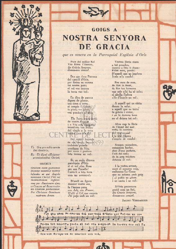 Goigs a Nostra Senyora de Gracia que es venera en la Parroquial Església d'Orís