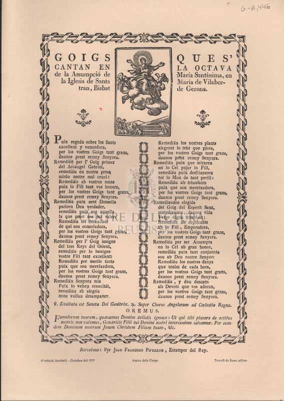 Goigs ques' cantan en la octava de la Assumpció de María Santíssima, en la Iglesia de Santa María de Vilabertran, Bisbat de Gerona