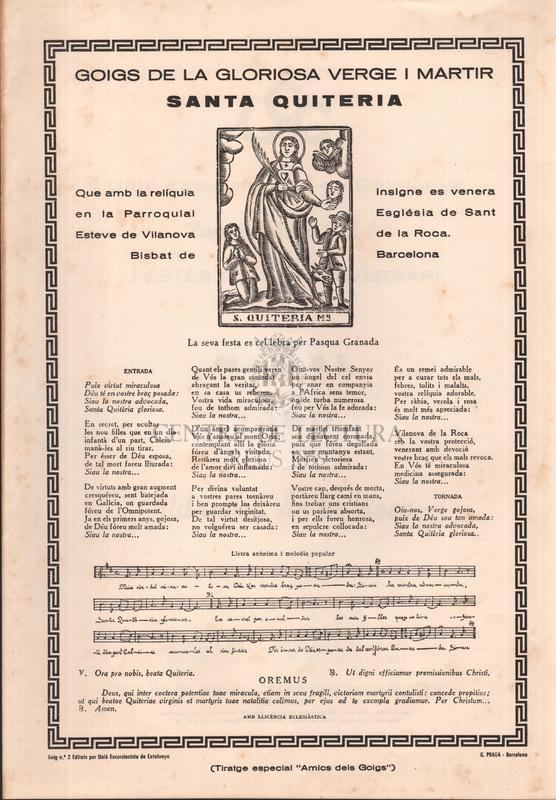 Goigs de la gloriosa verge i martir santa Quiteria, Que amb la relíquia insigne es venera en la Parroquial Església de Sant Esteve de Vilanova de la Roca, Bisbat de Barcelona, La seva festa es cel·lebra per Pasqual Granada