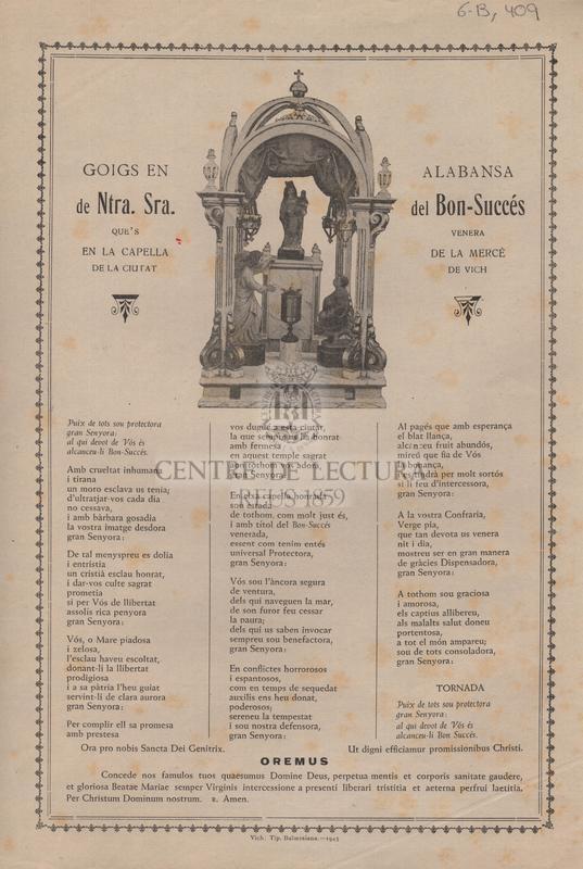 Goigs en alabansa de Ntra. Sra. del Bon-Succés que's venera en la capella de la Mercé de la ciutat de Vich