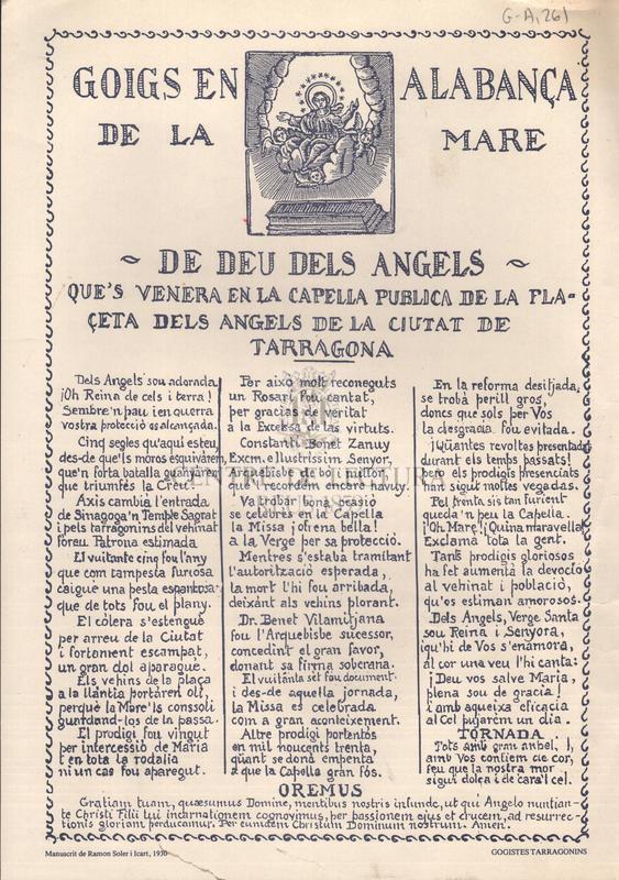 Goigs en alabançade la mare de Déu dels Angels que's venera en la capella publica de la plaçeta dels angels de la ciutat de Tarragona
