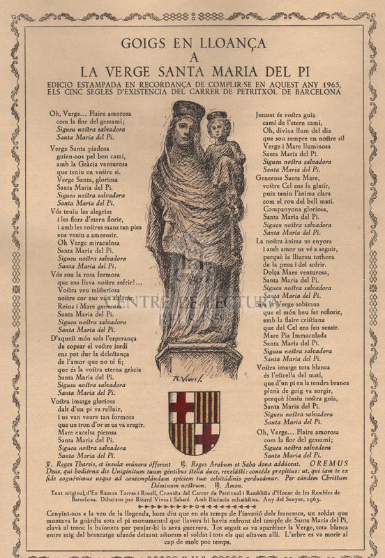 Goigs en lloança a la Verge de Santa Maria del Pi.