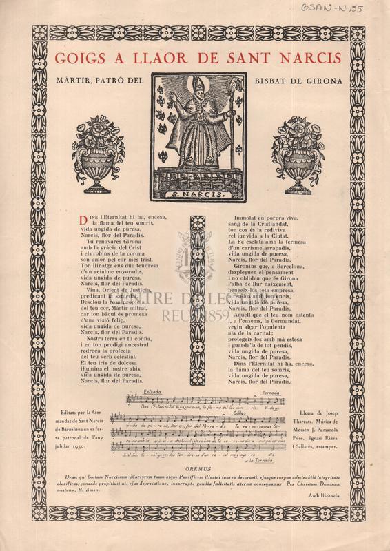 Goigs a llaor de Sant Narcís mártir, patró del Bisbat de Girona