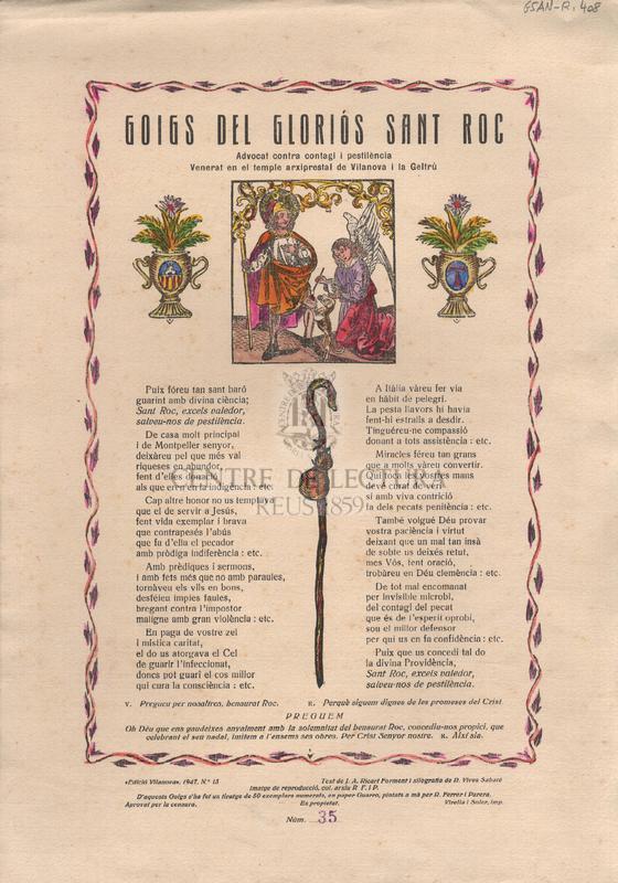 Goigs del gloriós Sant Roc. Advocat contra contagi i pestilència. Venerat en el temple arxiprestal de la Vilanova i la Geltrú
