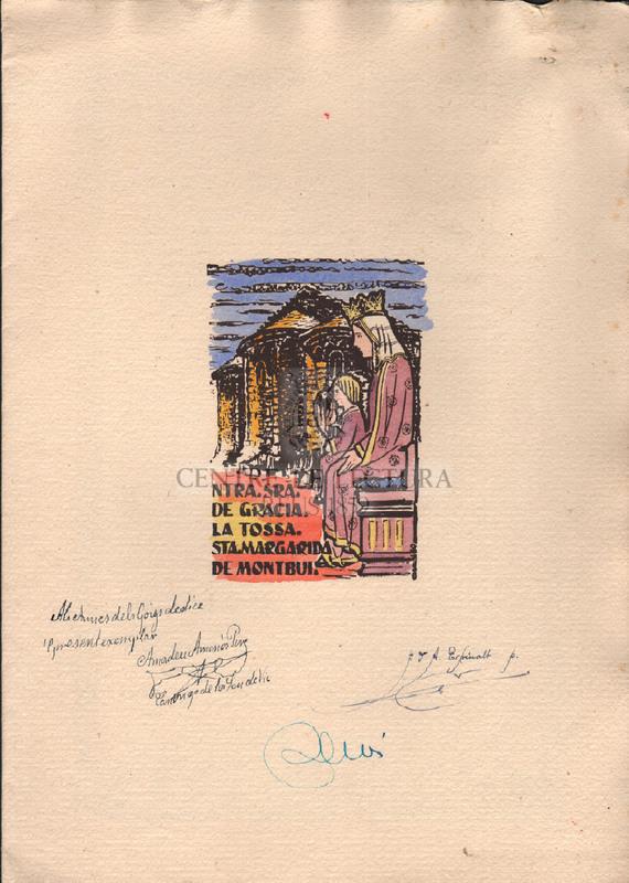 Goigs a llaor de Ntra. Sra. de Gràcia venerada en l'ermita de la Tossa, de Sta. Margarida de Montbui
