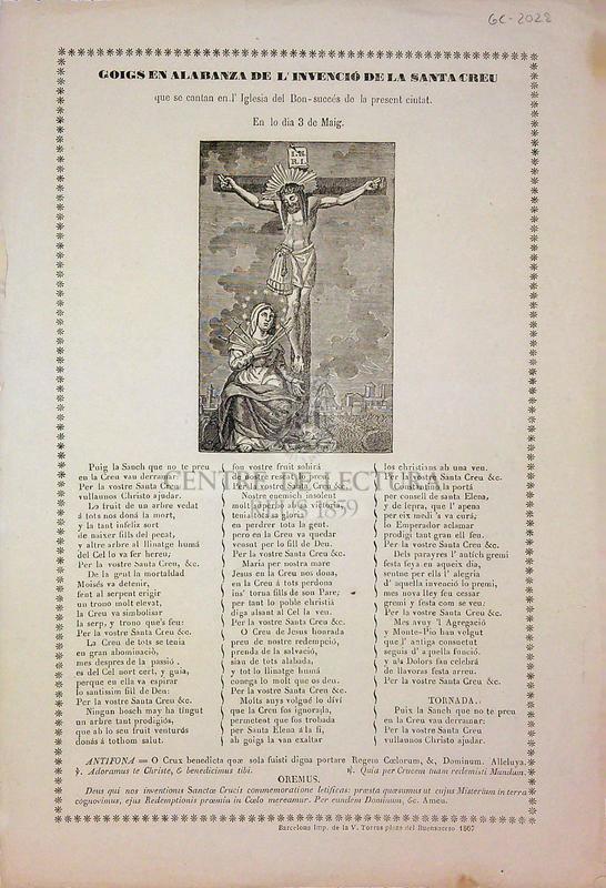 Goigs en alabanza de l'invenció de la Santa Creu que se cantan en l'Iglesia del Bon-succés de la present ciutat