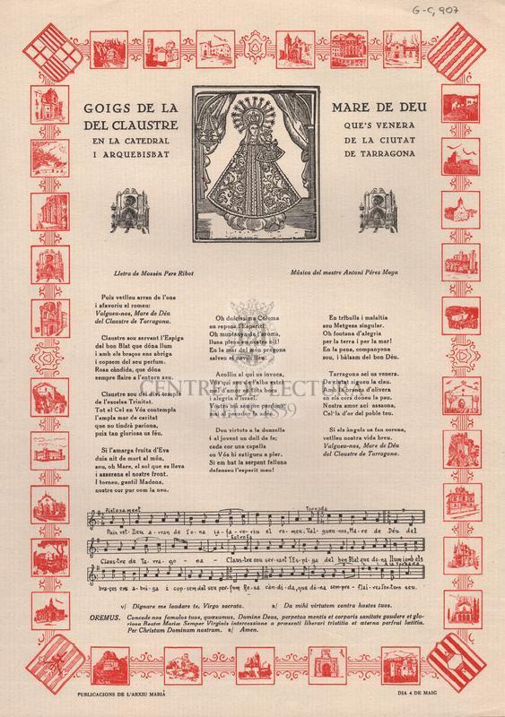 Goigs de la Mare de Deu del Claustre que's venera en la catedral de la ciutat i arquebisbat de Tarragona.