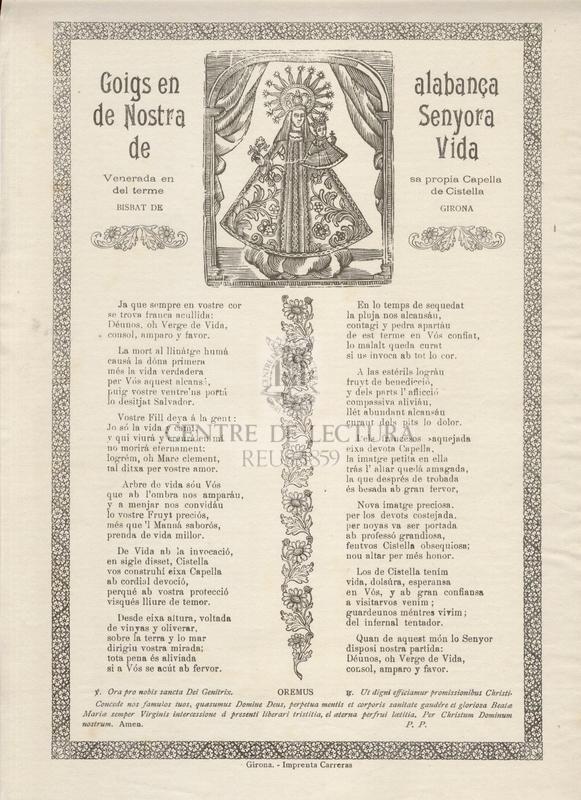 Goigs en alabança de Nostra Senyora de Vida, venerada en sa propia capella del terme de Cistella, Bisbat de Girona