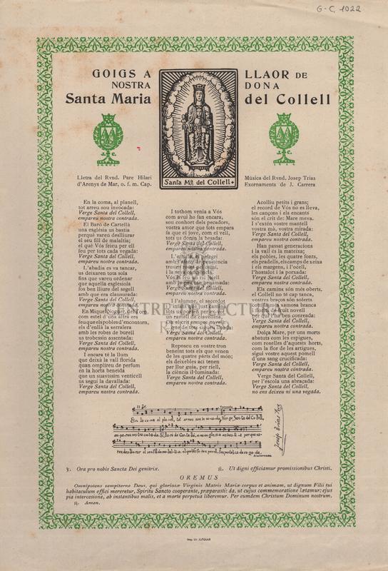 Goigs a llaor de Nostra Dona Santa Maria del Collell.