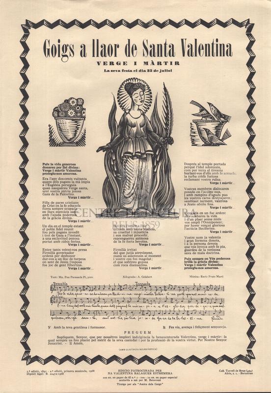 Goigs a llaor de Santa Valentina Verge i màrtir. La seva festa el dia 25 de juliol