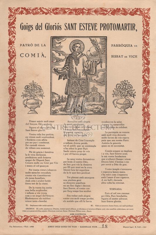 Goigs del gloriós Sant Esteve protomartir, Patró de la Parròquia de Comià, Bisbat de Vich