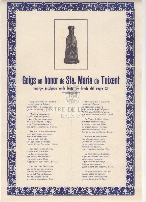 Goigs en honor de Sta. Maria de Tuixent imatge esculpida amb fusta de finals del segle XII