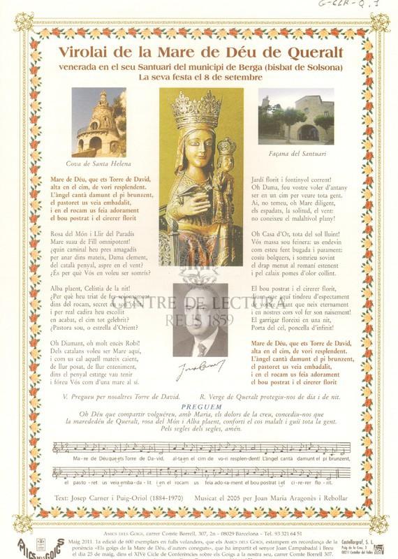 Virolai de la Mare de Déu de Queralt, venerada en el seu Santuari del municipi de Berga (Bisbat de Solsona)