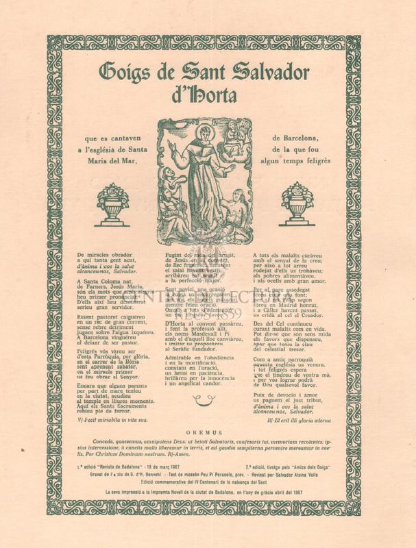 Goigs de la Mare de Deu de Nuria i Goigs de Sant Salvador d'Horta.